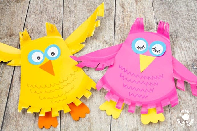 Paper Plate Owl Craft in pink and yellow