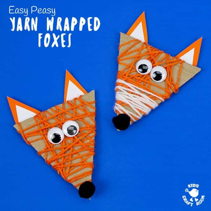 Yarn Wrapped Fox Craft square image on blue background