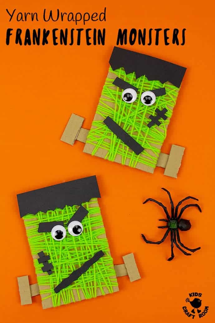 This Yarn Wrapped Frankenstein Craft is a fun way to keep little hands busy. This Halloween craft is easy to make in any size and great for toddlers and preschoolers. A monstrously good recycled craft for building fine motor skills and hand eye coordination. #kidscraftroom #kidscrafts #halloweencrafts #halloween #frankenstein #frankensteinday #frankensteinmonsters #monstercrafts #frankensteincrafts
