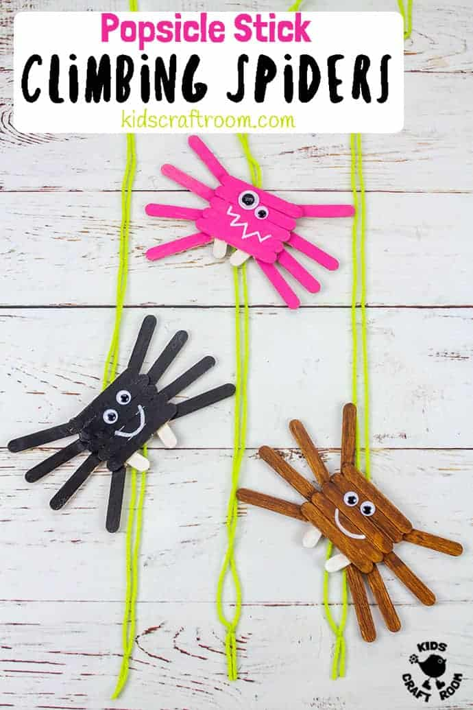 Climbing Popsicle Stick Spider Craft pin 3
