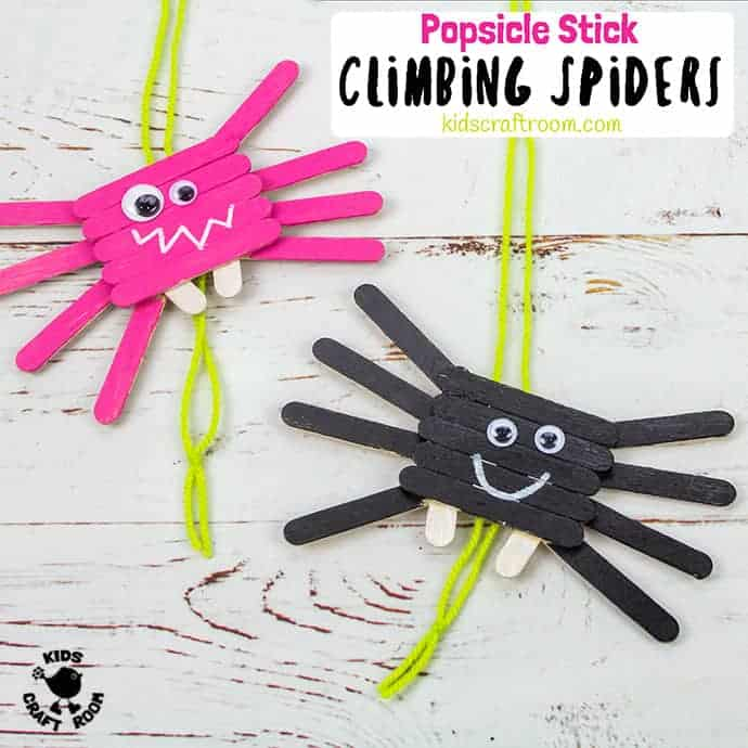 Climbing Popsicle Stick Spider Craft pin 2