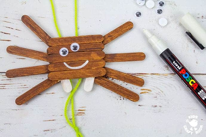 Climbing Popsicle Stick Spider Craft step 6