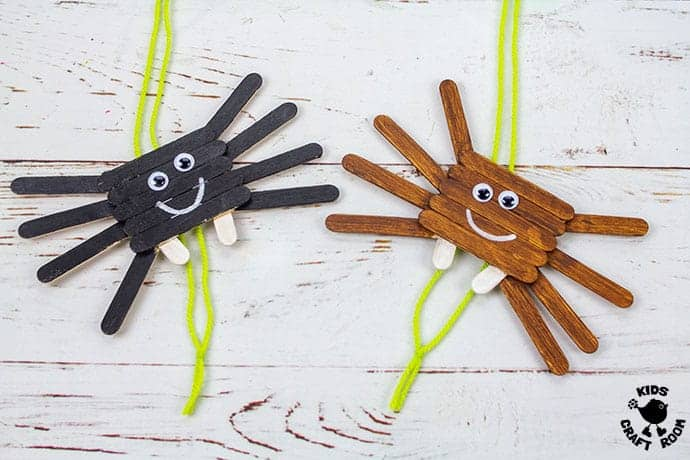 Climbing Popsicle Stick Spider Craft finished