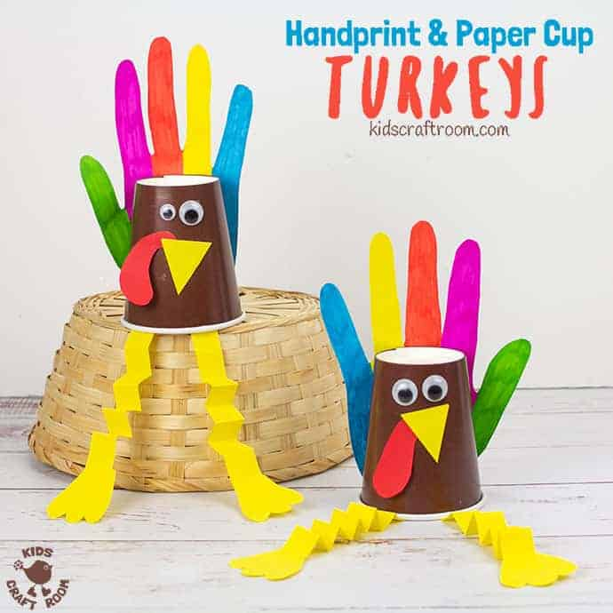 Handprint and Paper Cup Turkey Craft pin 2