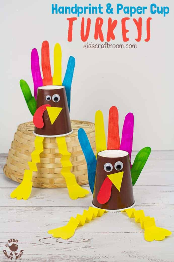 Handprint and Paper Cup Turkey Craft pin 3