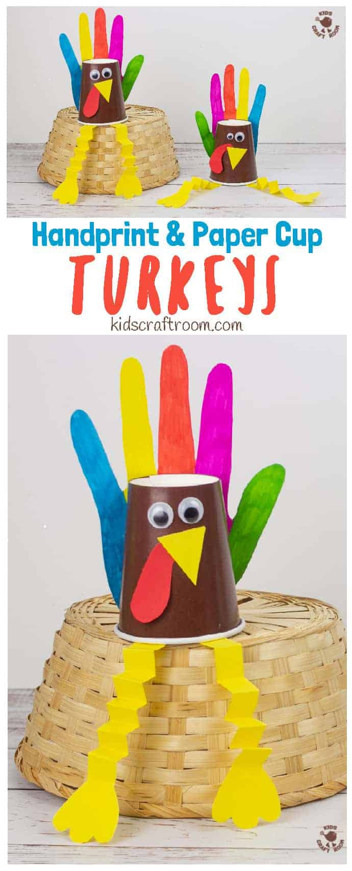 Handprint and Paper Cup Turkey Craft pin 1