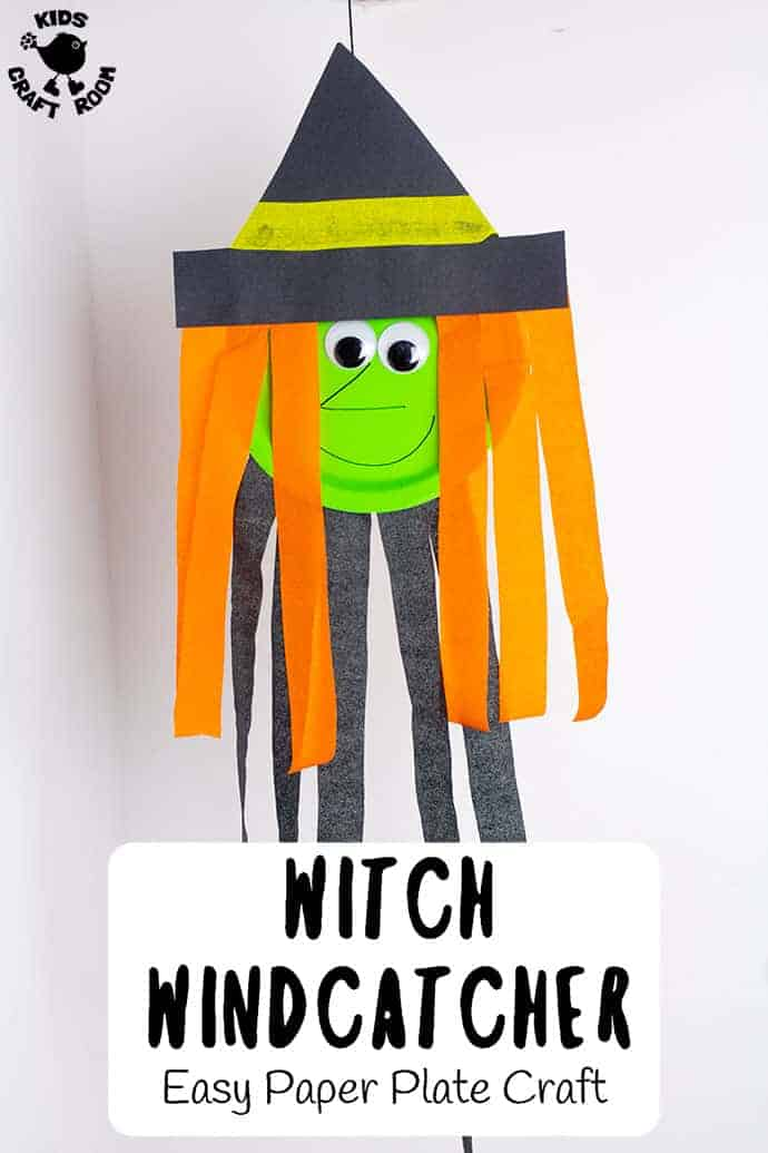 Decorate this Halloween with Paper Plate Witch Wind Catchers. These DIY Halloween decorations are super easy to make. Such a fun Halloween craft for kids of all ages. #kidscraftroom #Halloween #kidscrafts #halloweencrafts #witch #witches #paperplatecrafts #toddlercrafts #witchcrafts