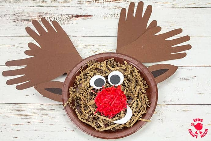 Textured Handprint And Paper Plate Reindeer Craft Kids