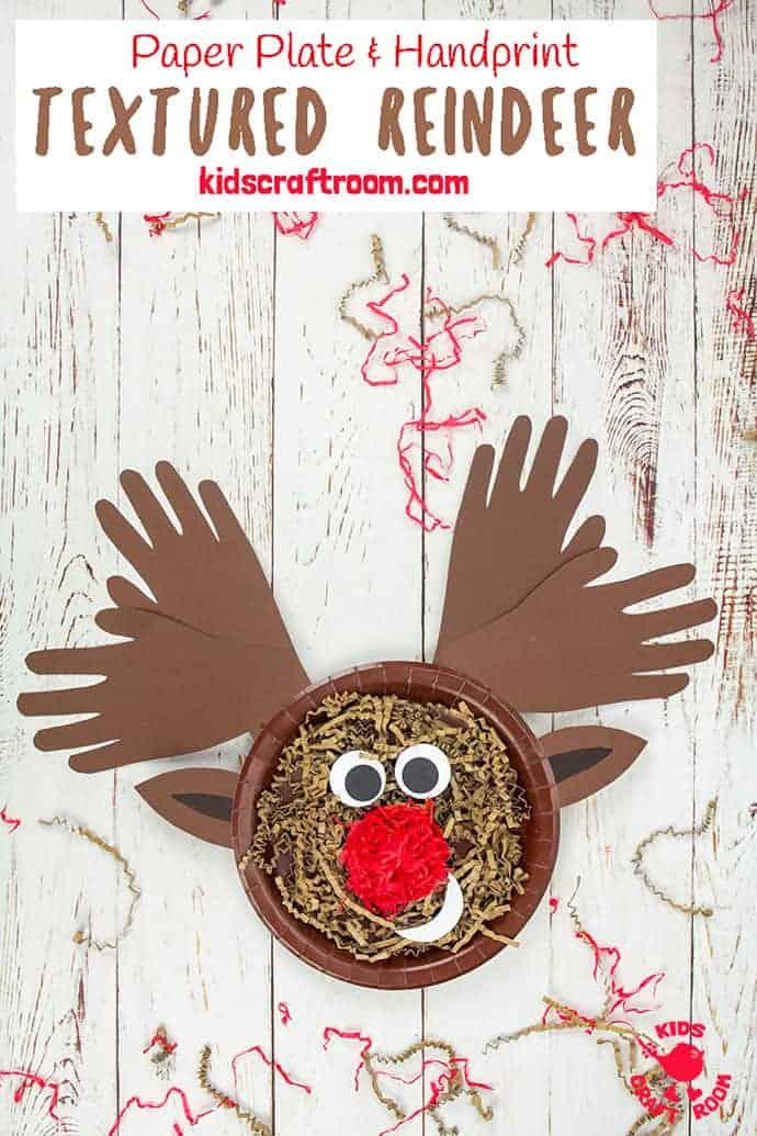 Textured Handprint and Paper Plate Reindeer Craft pin 3