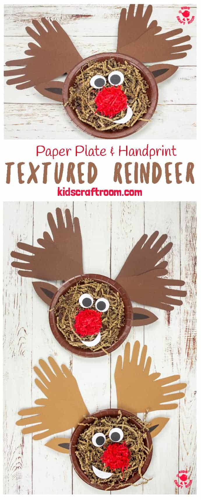 This textured Handprint and Paper Plate Reindeer craft is super simple to make. An adorably cute Christmas craft for toddlers and preschoolers and a lovely Christmas keepsake. #kidscraftroom #kidscrafts #christmascrafts #reindeercrafts #rudolfcrafts #paperplatecrafts #handprintcrafts #toddlercrafts #preschoolcrafts #reindeer #rudolf