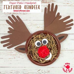 Textured Handprint and Paper Plate Reindeer Craft