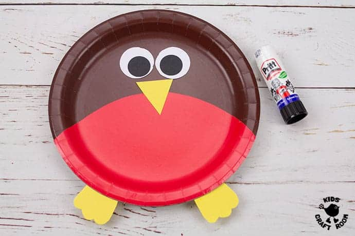 Paper Plate Robin Craft step 6