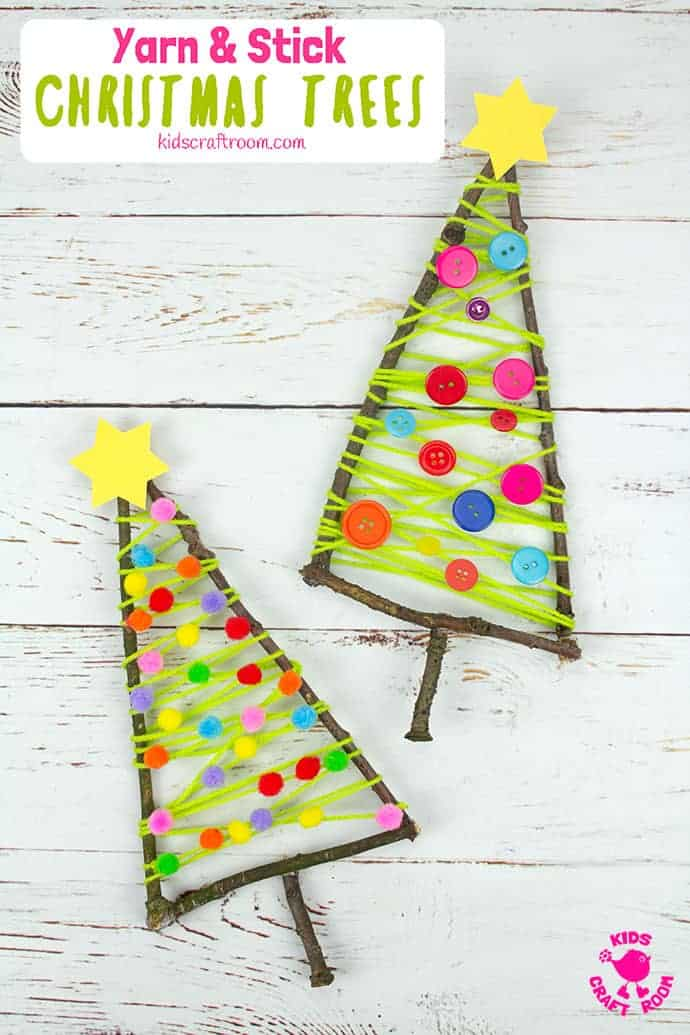 Yarn And Stick Christmas Tree Craft Kids Craft Room