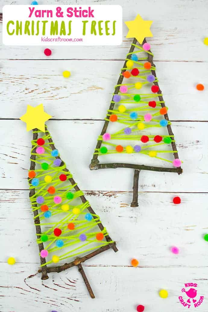 Yarn And Stick Christmas Tree Craft pin 5