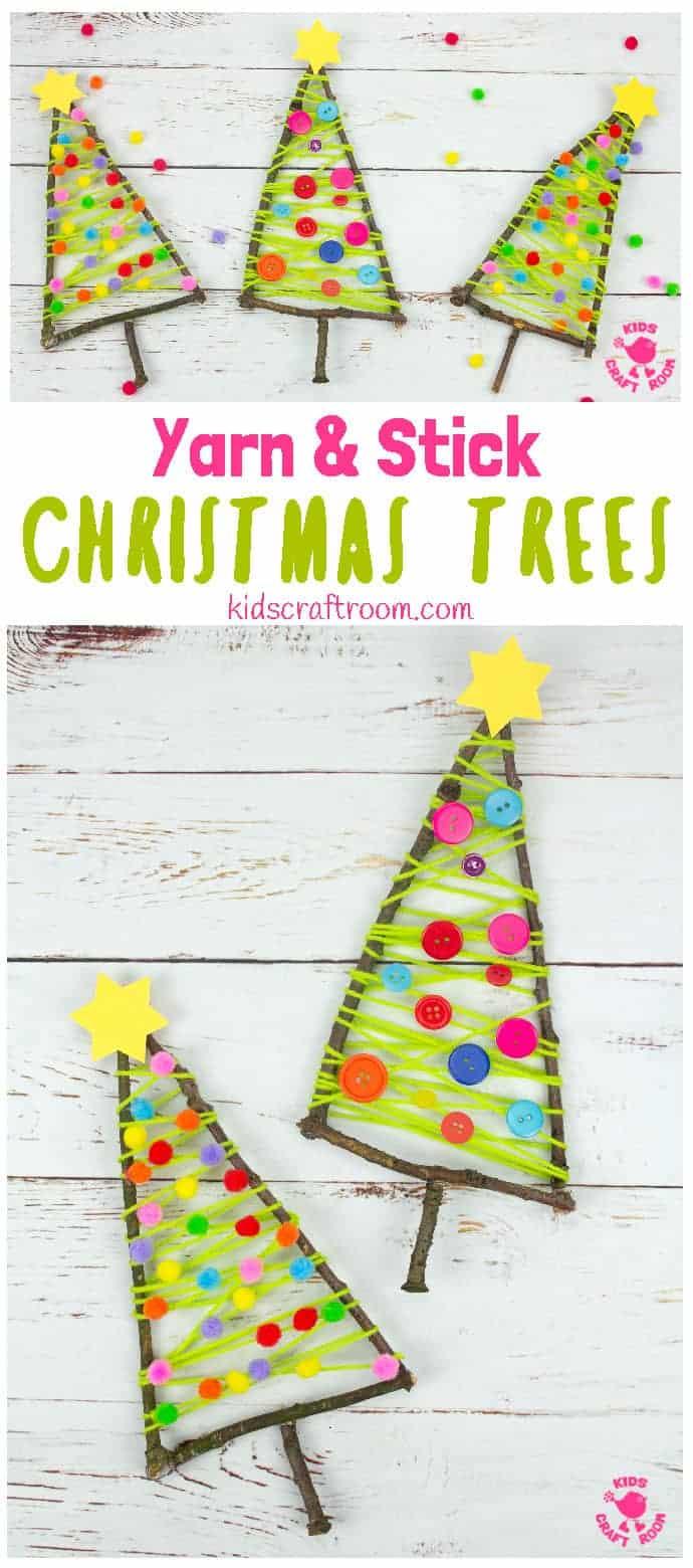 Yarn And Stick Christmas Tree Craft pin 1