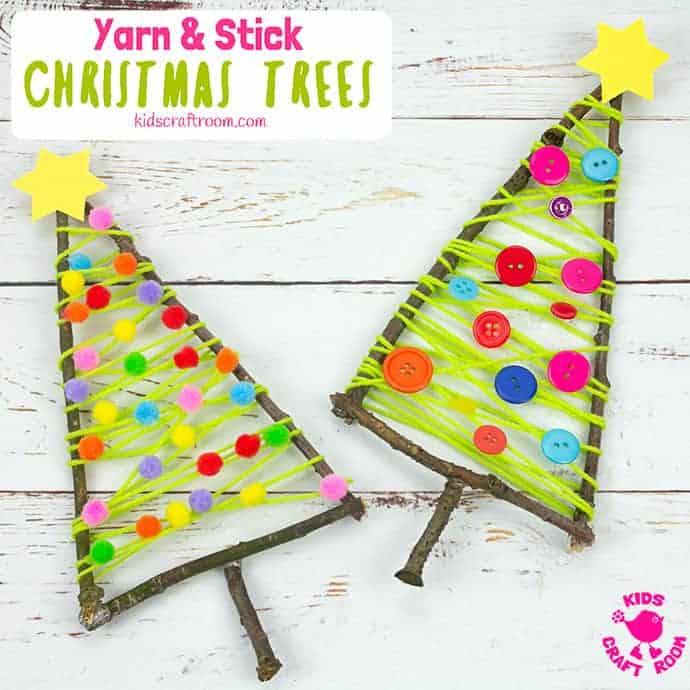Yarn And Stick Christmas Tree Craft pin 2