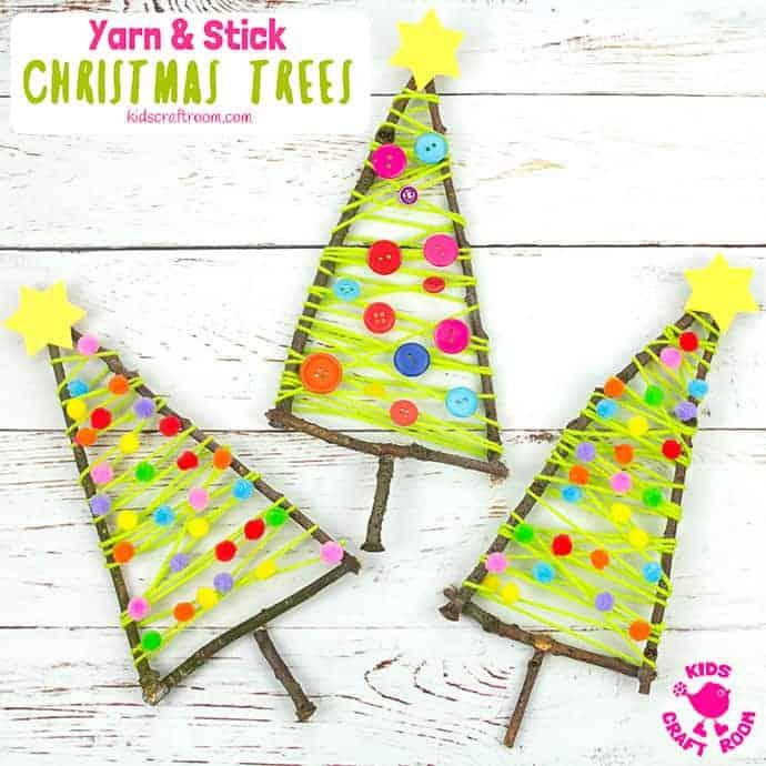Yarn And Stick Christmas Tree Craft pin 3