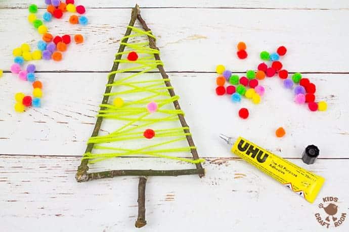 Yarn And Twig Christmas Tree Craft step 4