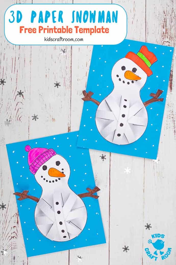 3D Paper Snowman Craft pin 3