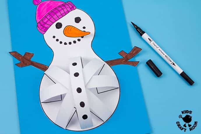 3D Paper Snowman Craft step 9