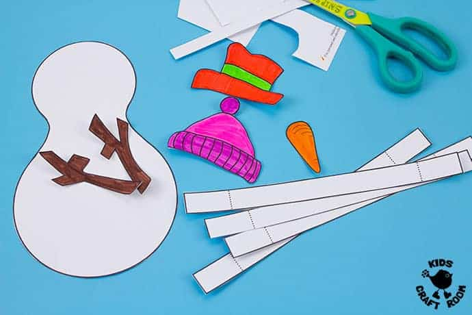 3D Paper Snowman Craft step 3