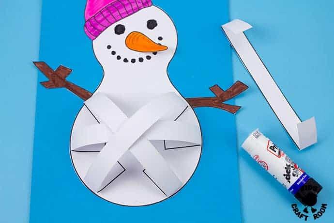 3D Paper Snowman Craft step 8