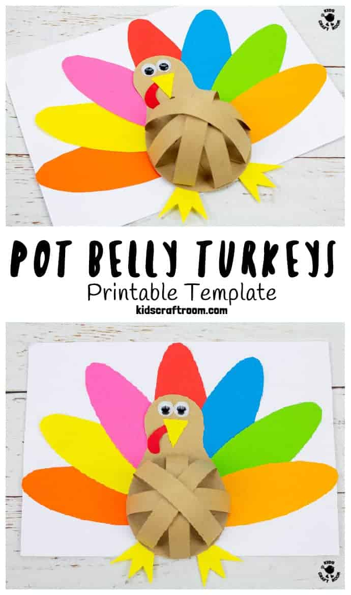 Pot Belly Paper Turkey Craft pin 1