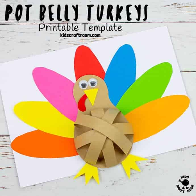 Pot Belly Paper Turkey Craft pin 3