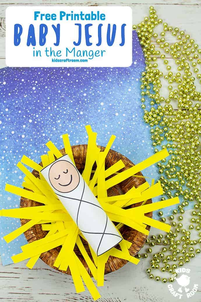 Baby Jesus In A Manger Craft pin 3