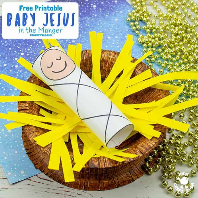Baby Jesus In A Manger Craft pin 2