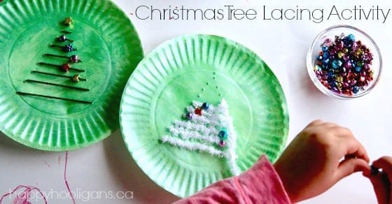 Christmas Tree Lacing Activity for Kids