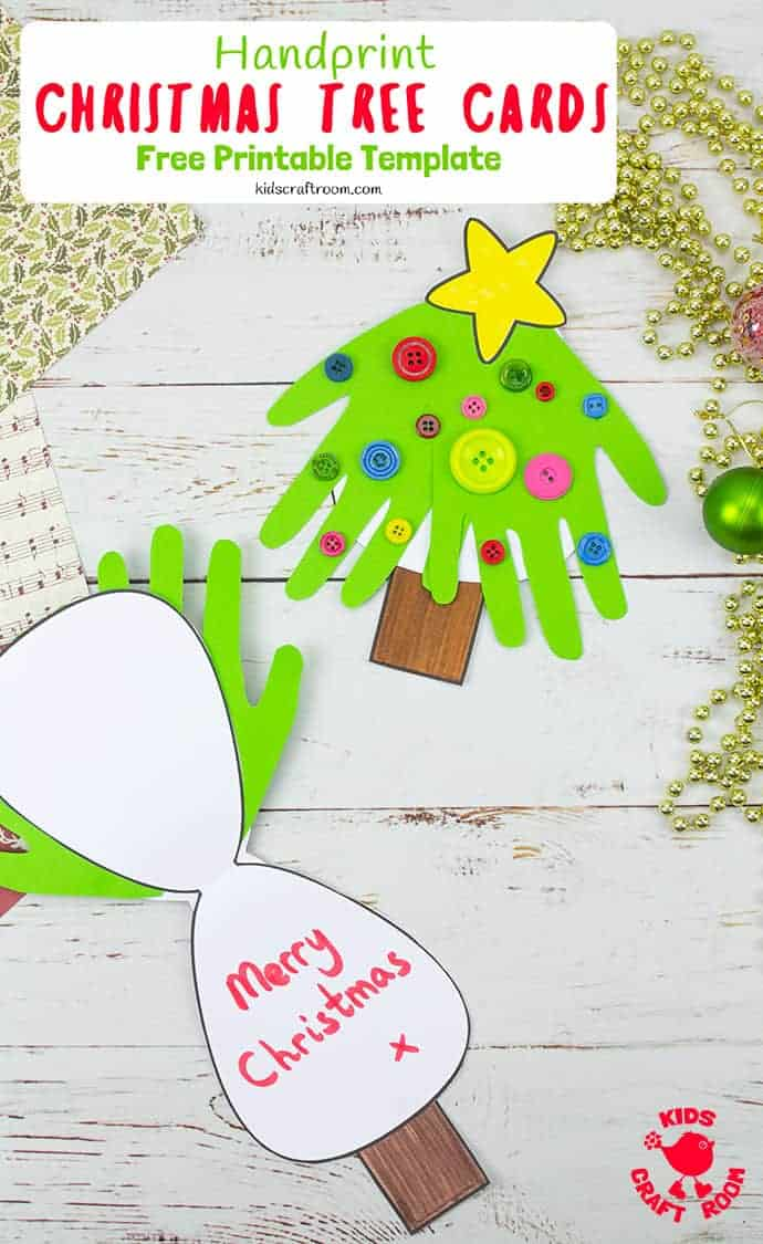 Make super fun and adorably cute Handprint Christmas Tree Cards. A fantastic Christmas craft to share with friends and family. This Christmas handprint craft makes a great festive keepsake. (Free Printable Christmas Card Template.) #kidscraftroom #kidscrafts #christmascrafts #christmascards #printables #printablecrafts #freeprintables #christmastree #toddlercrafts #handprintcrafts