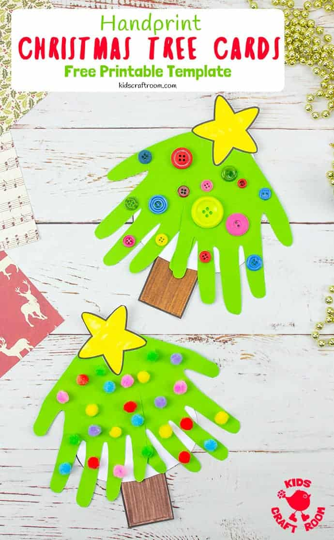 Handprint Christmas Tree Cards pin 4