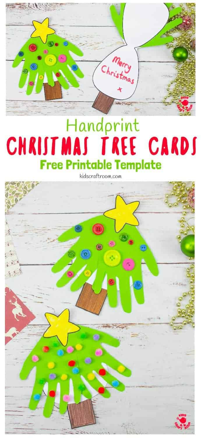 Handprint Christmas Tree Cards pin 1