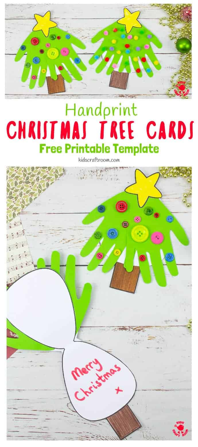 Handprint Christmas Tree Cards pin 3