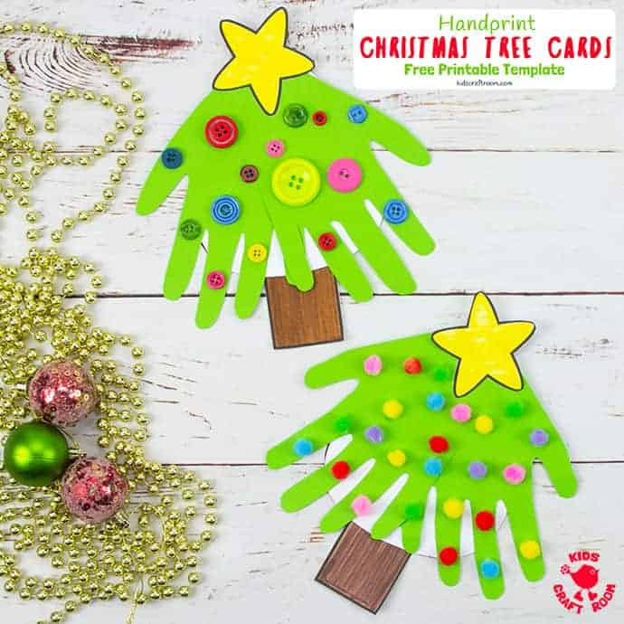 Handprint Christmas Tree Cards pin 2