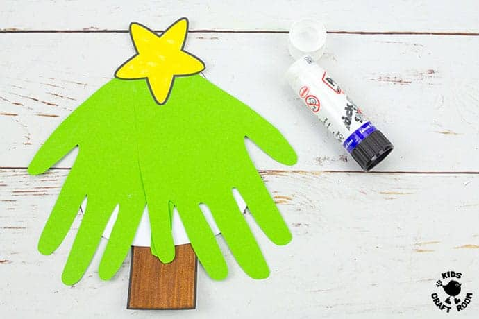 Handprint Christmas Tree Cards step 6