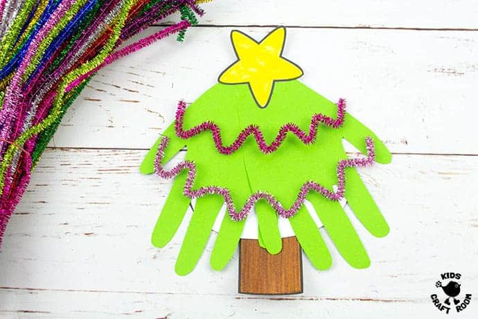 Handprint Christmas Tree Cards step 8
