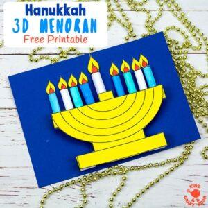 3D Hanukkah Menorah Craft With Printable Template