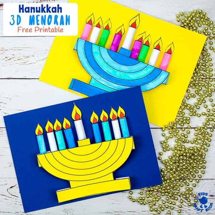 3D Hanukkah Menorah Craft With Printable Template