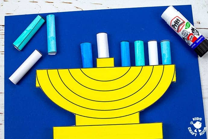 3D Hanukkah Menorah Craft step 7
