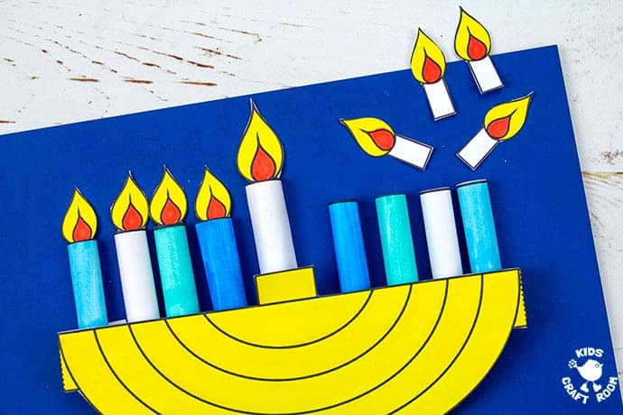 3D Hanukkah Menorah Craft step 8