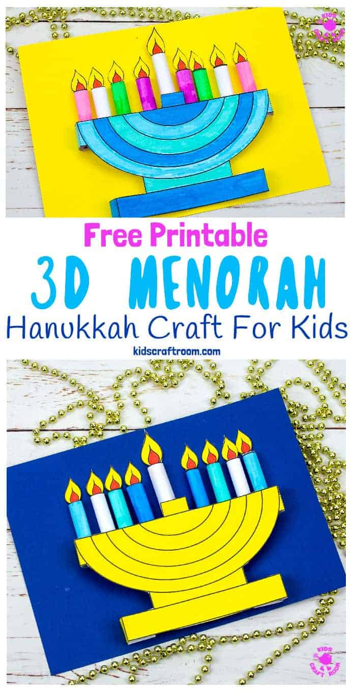 Celebrate Hanukkah with this lovely 3D Hanukkah Menorah craft for kids. This Hanukkah craft is easy to make and comes with a free printable template. You can make static or removable flames so kids can either light the candles all at once or day by day. #kidscraftroom #hanukkah #menorah #hanukkahcrafts #menorahcrafts #kidscrafts #hanukkahactivities #freeprintables #printablecrafts