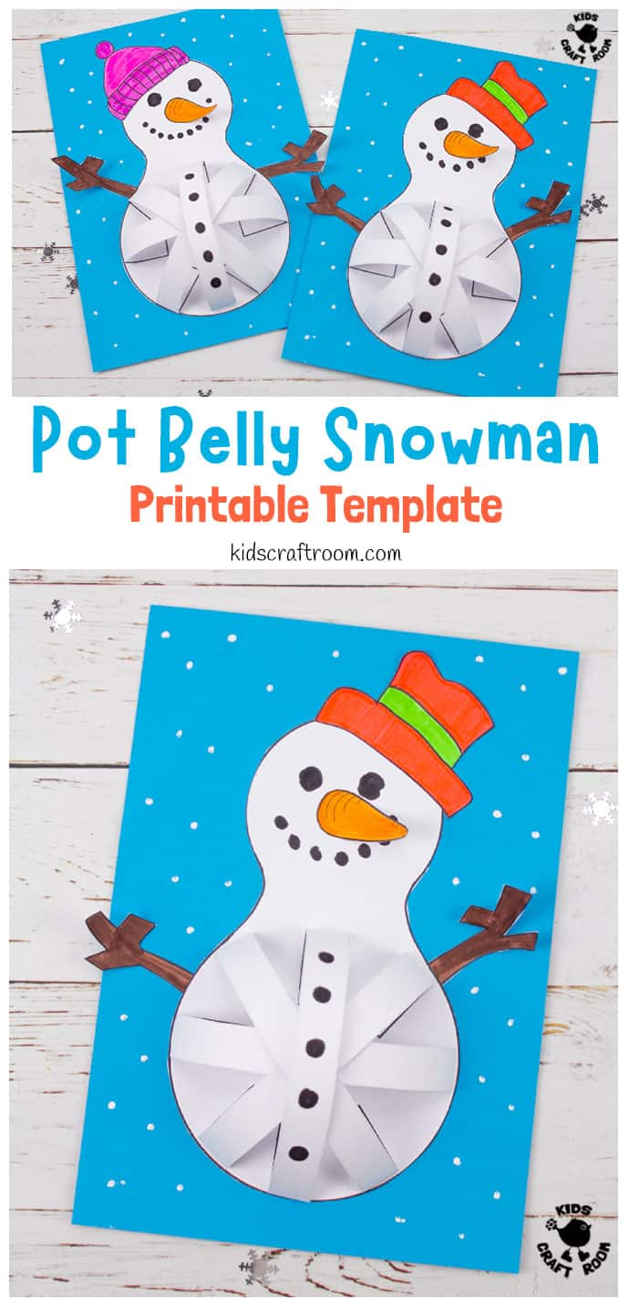 3D Paper Snowman Craft pin image 1