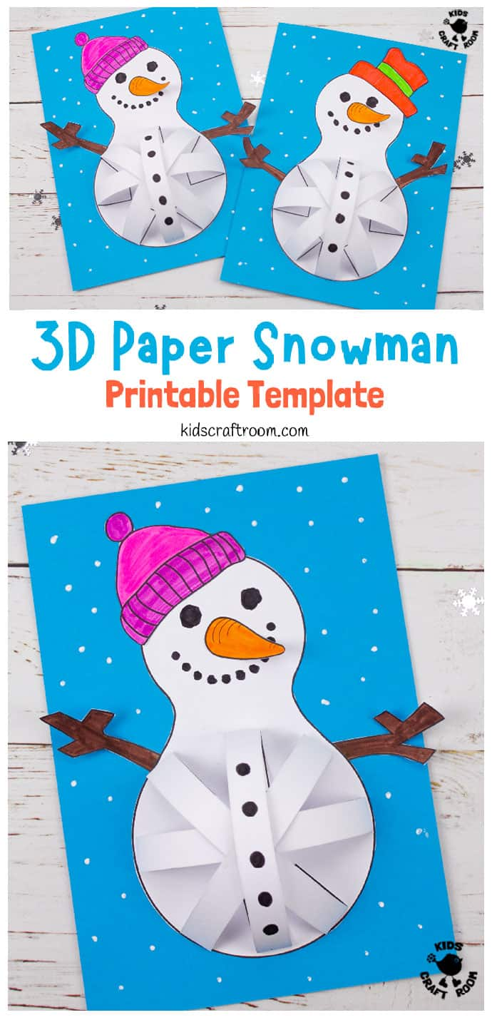 3D Paper Snowman Craft pin image 3