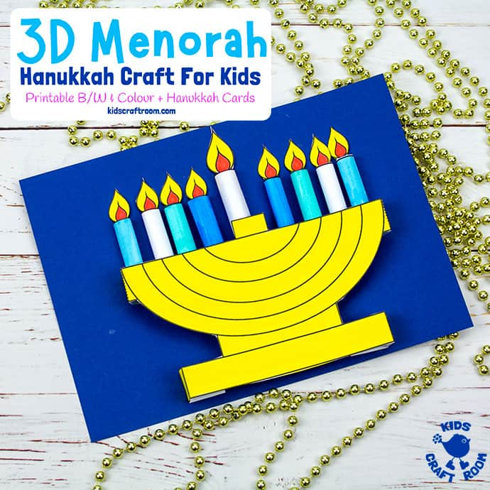 3D Hanukkah Menorah Craft For Kids pin 2