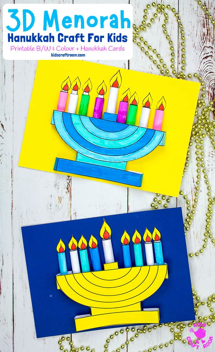 3D Hanukkah Menorah Craft For Kids pin 1
