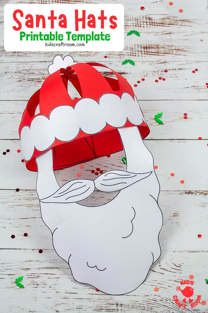 3D Paper Santa Hat Craft pin 2