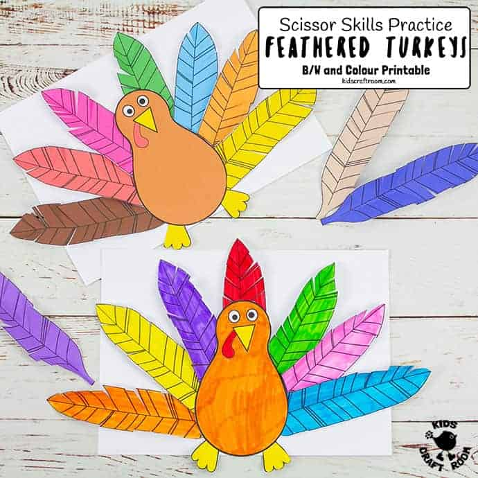 Paper Feathered Turkey Craft and Scissor Practice