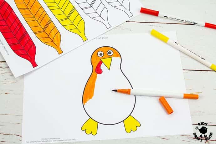 Paper Feathered Turkey Craft and Scissor Practice Activity step 2